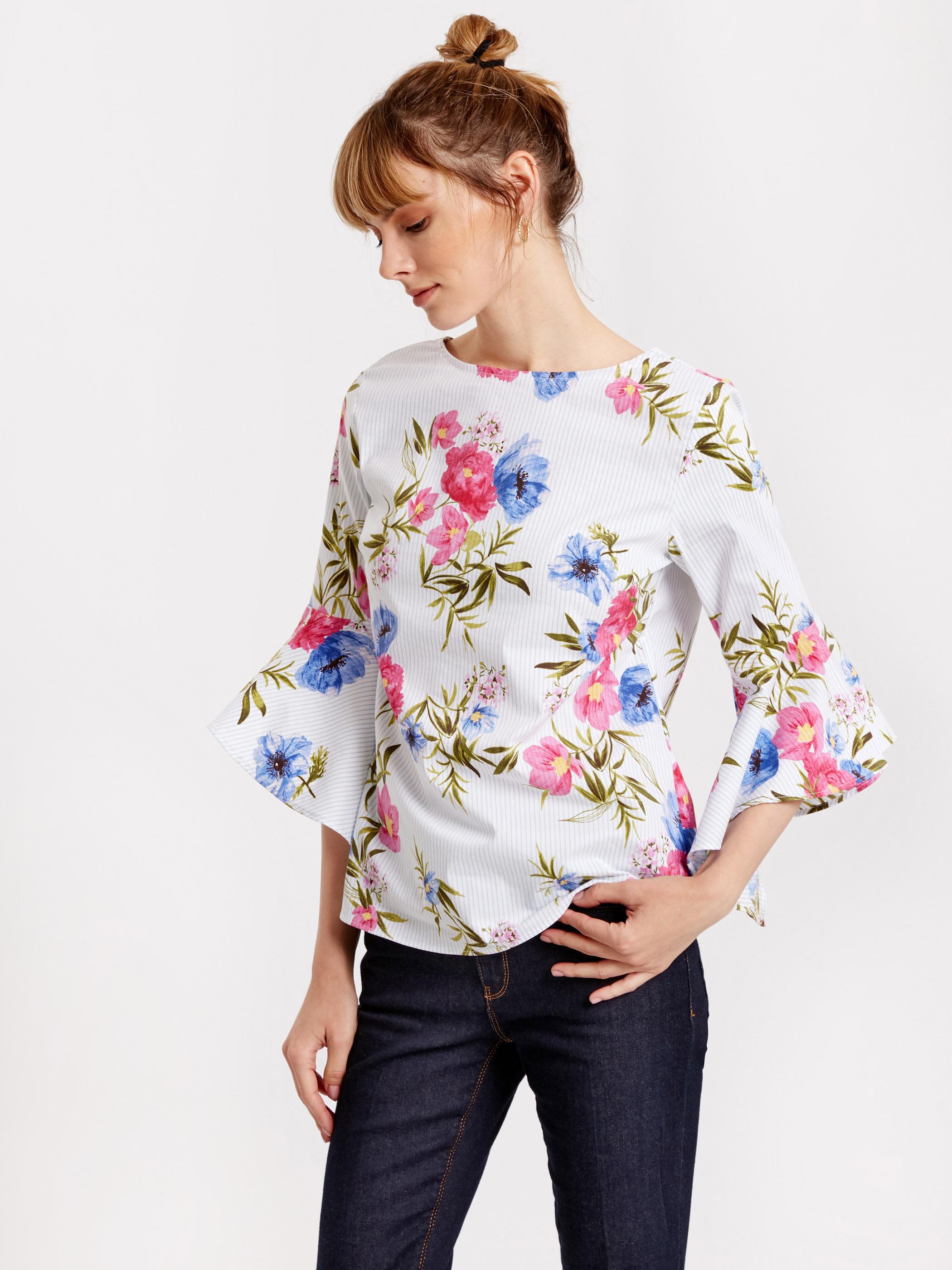 Блузка из поплина с воланами на рукавах