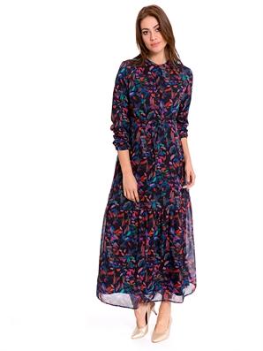 95becae76c11c Desenli Uzun Şifon Elbise - LC WAIKIKI