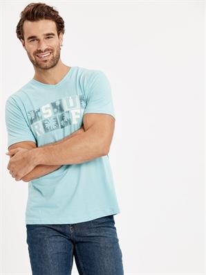 erkek baskılı v yaka kısa kollu pamuklu tişört