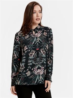 kadın yaka detaylı desenli poplin bluz