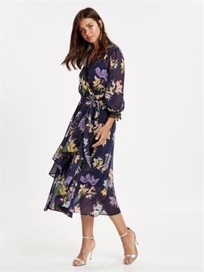 2eea40e491146 Dantel Detaylı Çiçek Desenli Kruvaze Şifon Elbise - LC WAIKIKI