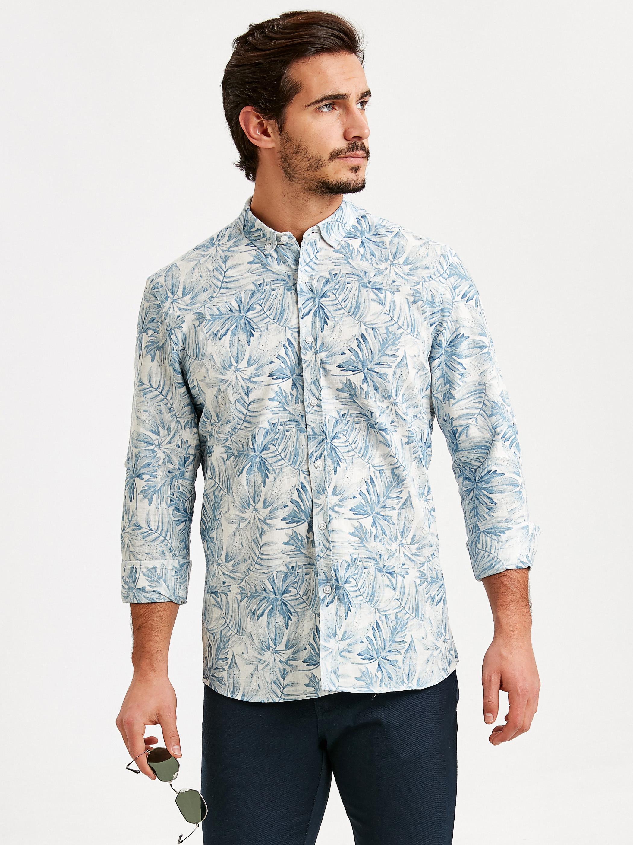 Extra Slim Fit Uzun Kollu Çiçek Baskılı Poplin Gömlek -9SK561Z8-LQQ