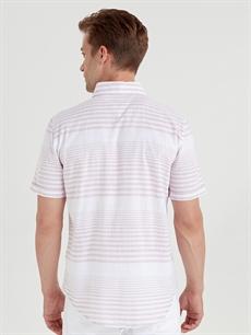 Pembe Slim Fit Kısa Kollu Çizgili Poplin Gömlek 9SV269Z8 LC Waikiki