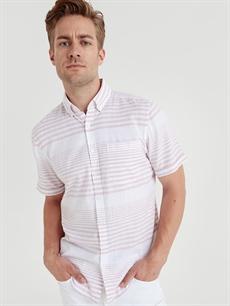 %100 Pamuk Dar Kısa Kol Çizgili Gömlek Düğmeli Slim Fit Kısa Kollu Çizgili Poplin Gömlek
