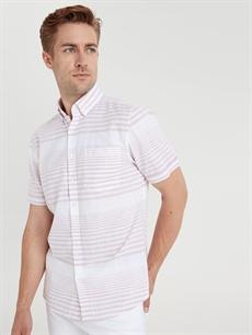 Erkek Slim Fit Kısa Kollu Çizgili Poplin Gömlek