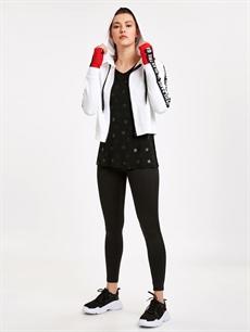 Kadın Kolları Şerit Slogan Detaylı Kapüşonlu Sweatshirt