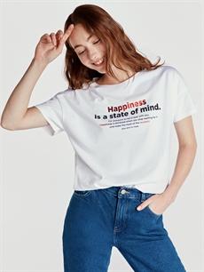 Beyaz Baskılı Pamuklu Tişört 9SU291Z8 LC Waikiki