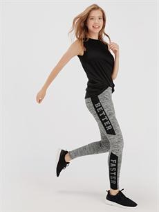 %93 Polyester %7 Elastan  Slogan Şerit Detaylı Uzun Aktif Spor Tayt