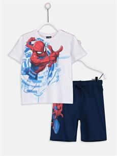 Beyaz Erkek Çocuk Spiderman Tişört ve Şort 9SU259Z4 LC Waikiki