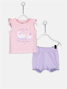Pembe Kız Bebek Baskılı Pijama Takımı 9SL937Z1 LC Waikiki