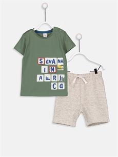 Yeşil Erkek Bebek Pamuklu Tişört ve Şort 9ST426Z1 LC Waikiki