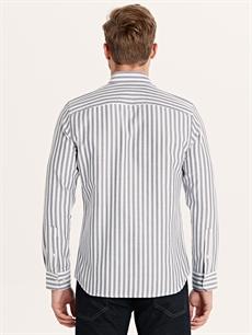 %60 Pamuk %40 Polyester Çizgili Gömlek Düğmeli Dar Uzun Kol Slim Fit Çizgili Uzun Kollu Poplin Gömlek