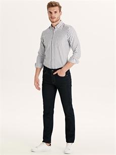 Erkek Slim Fit Çizgili Uzun Kollu Poplin Gömlek