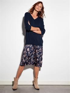 Kadın Pileli V Yaka Triko Elbise