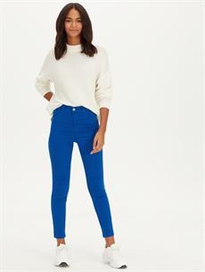 %98 Pamuk %2 Elastan Yüksek Bel Esnek Dar Jean Yüksek Bel Super Skinny Jean Pantolon