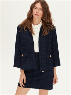 Ceket Kendinden Desenli Blazer Ceket