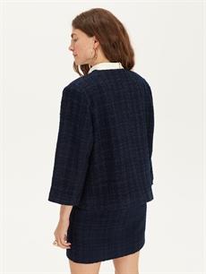 Kadın Kendinden Desenli Blazer Ceket
