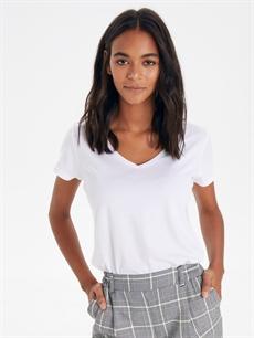 %48 Pamuk %52 Modal Standart Düz Kısa Kol Tişört V yaka Düz V Yaka Tişört