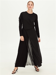 Siyah Düz Uzun Şifon Elbise 9WM776Z8 LC Waikiki