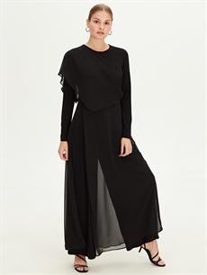 Uzun Düz Uzun Kol Düz Uzun Şifon Elbise