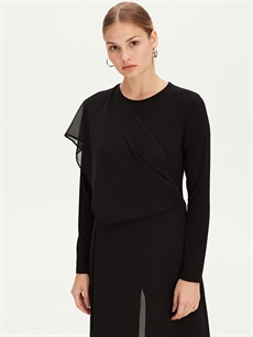 Kadın Düz Uzun Şifon Elbise