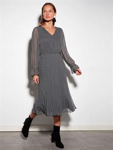 Siyah Kaz Ayağı Desenli Şifon Elbise 9WO337Z8 LC Waikiki