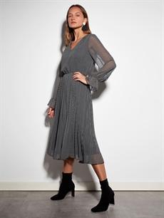 %100 Polyester %100 Polyester Diz Altı Desenli Uzun Kol Kaz Ayağı Desenli Şifon Elbise