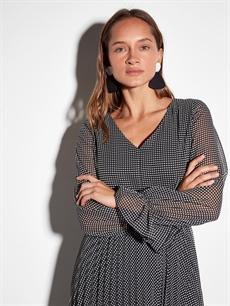 Kadın Kaz Ayağı Desenli Şifon Elbise