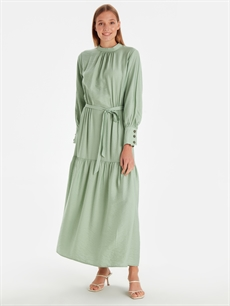 Yeşil Beli Kuşaklı Uzun Düz Viskon Elbise 9WQ475Z8 LC Waikiki