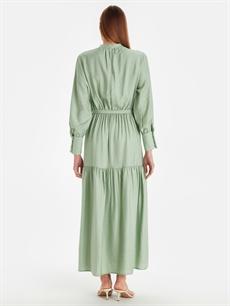 %23 Poliamid %77 Viskoz Uzun Düz Uzun Kol Beli Kuşaklı Uzun Düz Viskon Elbise