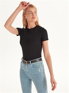 Siyah Düz Basic Pamuklu Tişört 9WQ613Z8 LC Waikiki