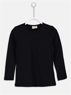 Siyah Kız Çocuk Pamuklu Basic Tişört 9W2619Z4 LC Waikiki