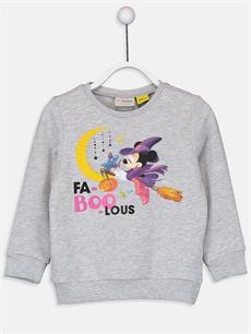 Gri Kız Çocuk Minnie Mouse Sweatshirt 9W7851Z4 LC Waikiki
