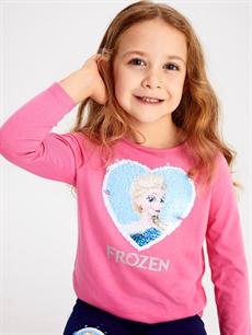 %100 Pamuk Kız Çocuk Çift Yönlü Payetli Frozen Tişört