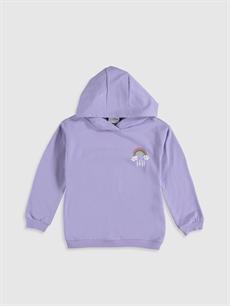 Lila Kız Çocuk Baskılı Kapüşonlu Sweatshirt 9WR030Z4 LC Waikiki
