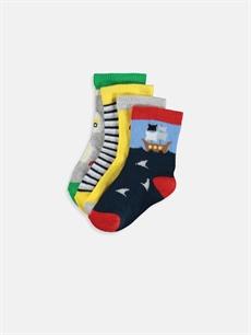 Çok Renkli Erkek Bebek Desenli Soket Çorap 4'lü 9W2201Z1 LC Waikiki
