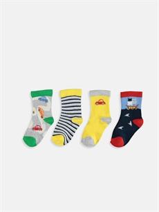 %62 Pamuk %36 Poliamid %2 Elastan  Erkek Bebek Desenli Soket Çorap 4'lü