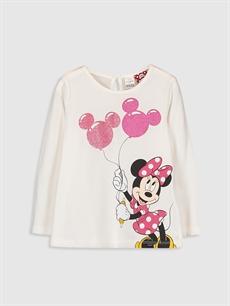 Ekru Kız Bebek Minnie Mouse Baskılı Tişört  9WR401Z1 LC Waikiki