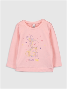 Pembe Kız Bebek Baskılı Sweatshirt 9WY063Z1 LC Waikiki