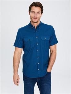 Lacivert Regular Fit Kısa Kollu Gabardin Gömlek 0S4334Z8 LC Waikiki