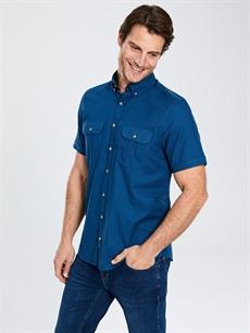 %100 Pamuk Normal Kısa Kol Düz Gömlek Düğmeli Regular Fit Kısa Kollu Gabardin Gömlek