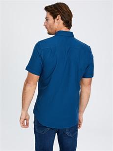 Erkek Regular Fit Kısa Kollu Gabardin Gömlek