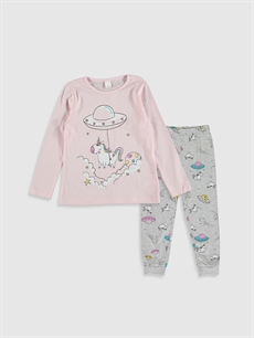 Pembe Kız Çocuk Unicorn Baskılı Pamuklu Pijama Takımı 0S1380Z4 LC Waikiki