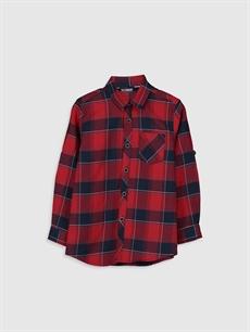 Kırmızı Erkek Çocuk Kareli Twill Gömlek 0S1567Z4 LC Waikiki