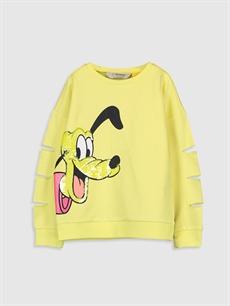 Sarı Kız Çocuk Pluto Baskılı Sweatshirt 0S6305Z4 LC Waikiki